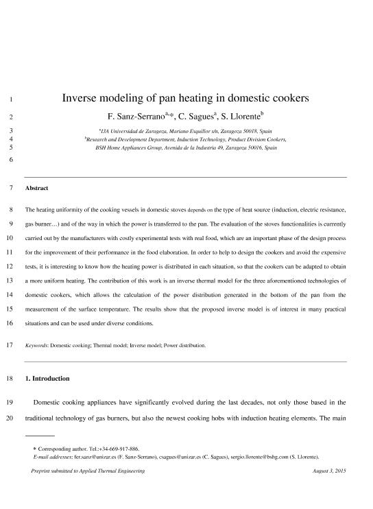 Inverse modeling of pan heating in domestic cookers