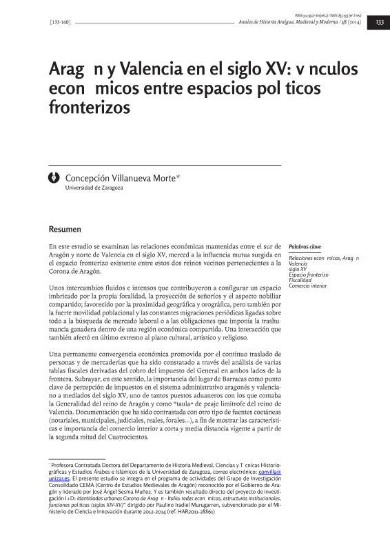 Aragón y Valencia en el siglo XV: vínculos económicos entre espacios políticos fronterizos