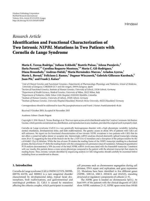 Identification and Functional Characterization of Two Intronic NIPBL Mutations in Two Patients with Cornelia de Lange Syndrome