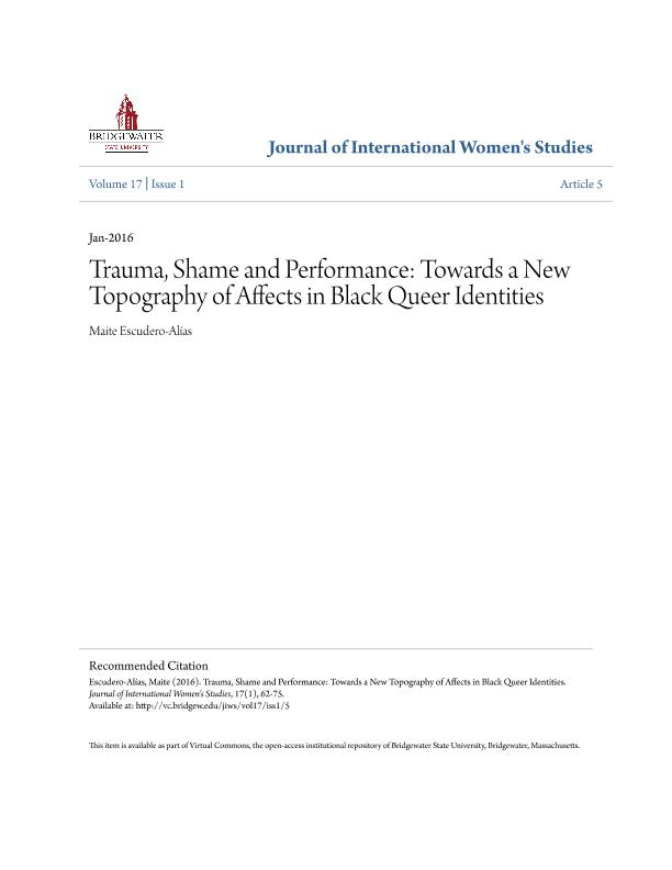 Trauma, shame and performance: Towards a new topography of affects in black queer identities