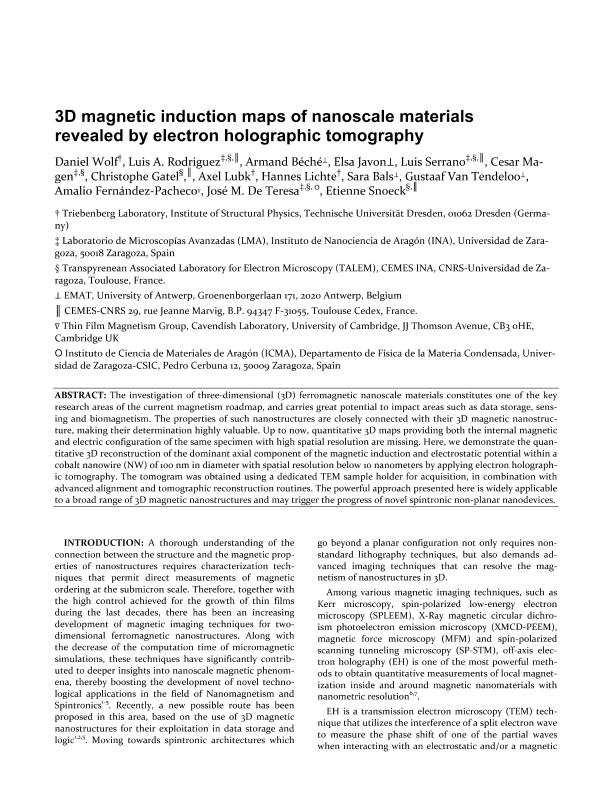 3D Magnetic Induction Maps of Nanoscale Materials Revealed by Electron Holographic Tomography
