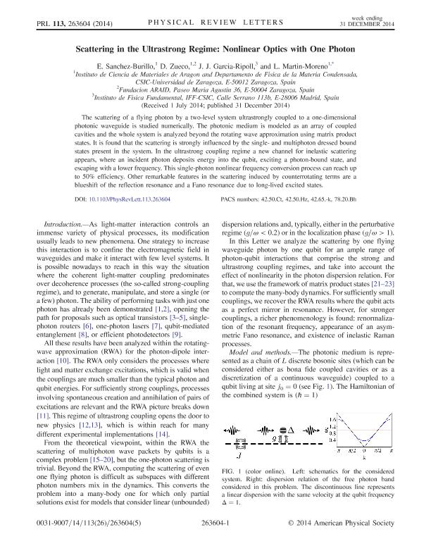 Scattering in the ultrastrong regime: Nonlinear optics with one photon