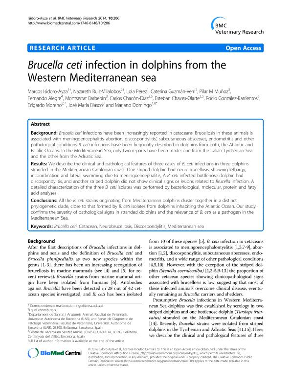 Brucella ceti infection in dolphins from the Western Mediterranean sea