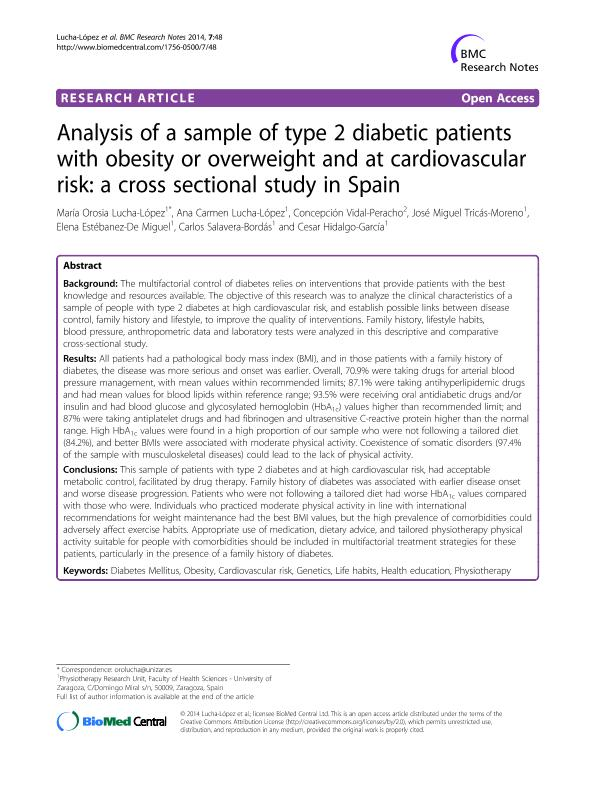 Analysis of a sample of type 2 diabetic patients with obesity or overweight and at cardiovascular risk: A cross sectional study in Spain
