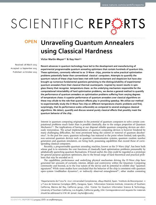 Unraveling Quantum Annealers using Classical Hardness