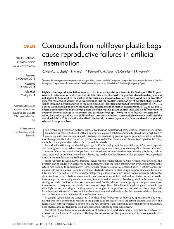 Compounds from multilayer plastic bags cause reproductive failures in artificial insemination