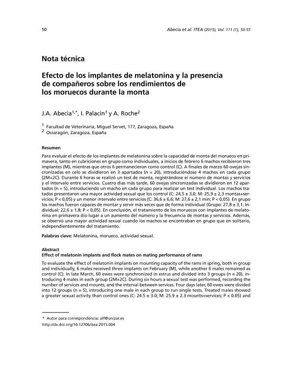 Efecto de los implantes de melatonina y la presencia de compan~eros sobre los rendimientos de los moruecos durante la monta