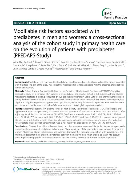 Modifiable risk factors associated with prediabetes in men and women: A cross-sectional analysis of the cohort study in primary health care on the evolution of patients with prediabetes
