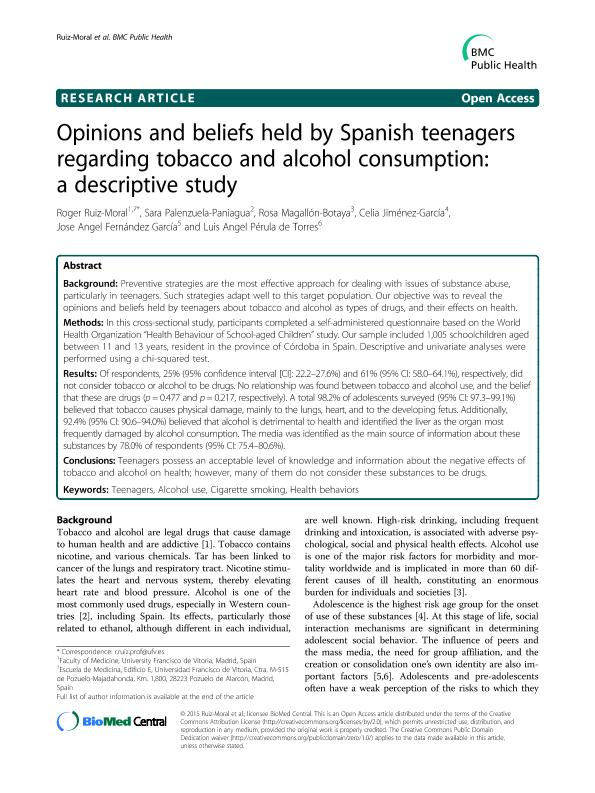 Opinions and beliefs held by Spanish teenagers regarding tobacco and alcohol consumption: A descriptive study