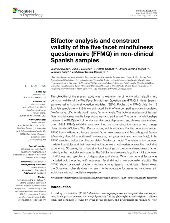 Bifactor analysis and construct validity of the five facet mindfulness questionnaire (FFMQ) in non-clinical Spanish samples