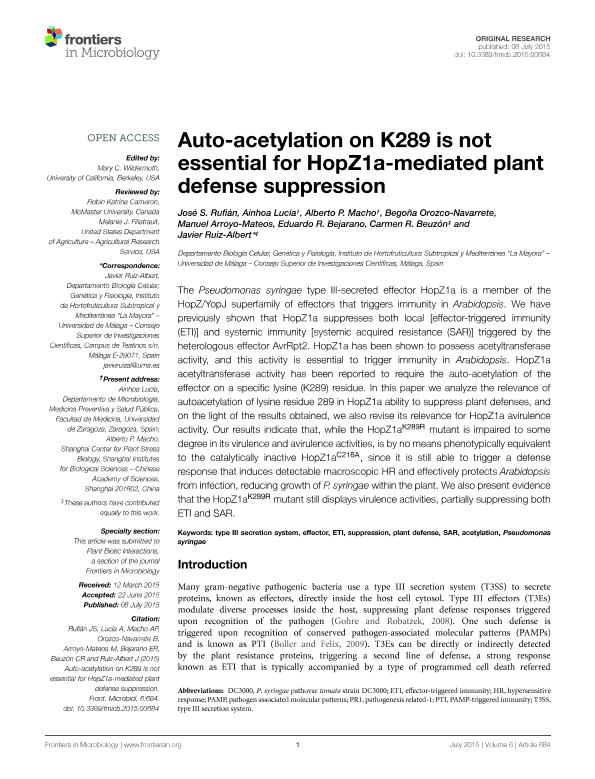 Auto-acetylation on K289 is not essential for HopZ1a-mediated plant defense suppression