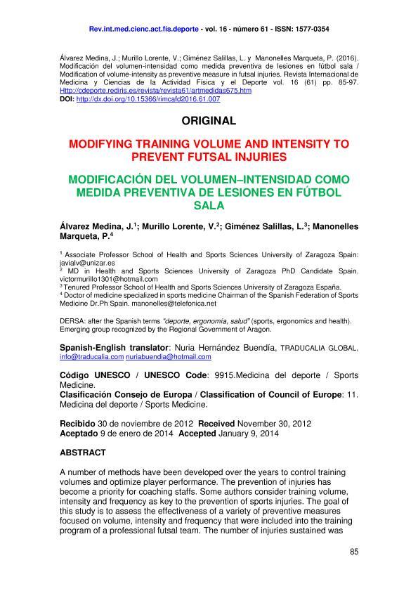 Modification of volume-intensity as preventive measure in futsal injuries (Modificación del volumen-intensidad como medida preventiva de lesiones en fútbol sala)