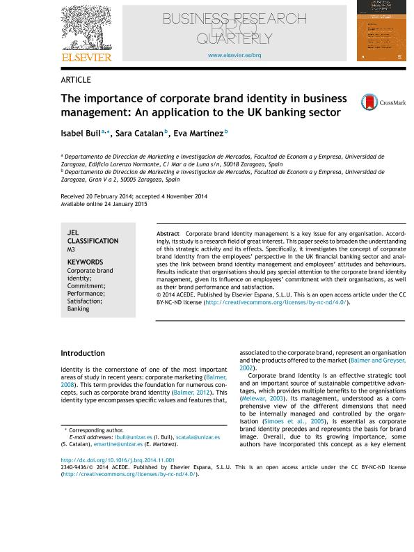 The importance of corporate brand identity in business management: An application to the UK banking sector