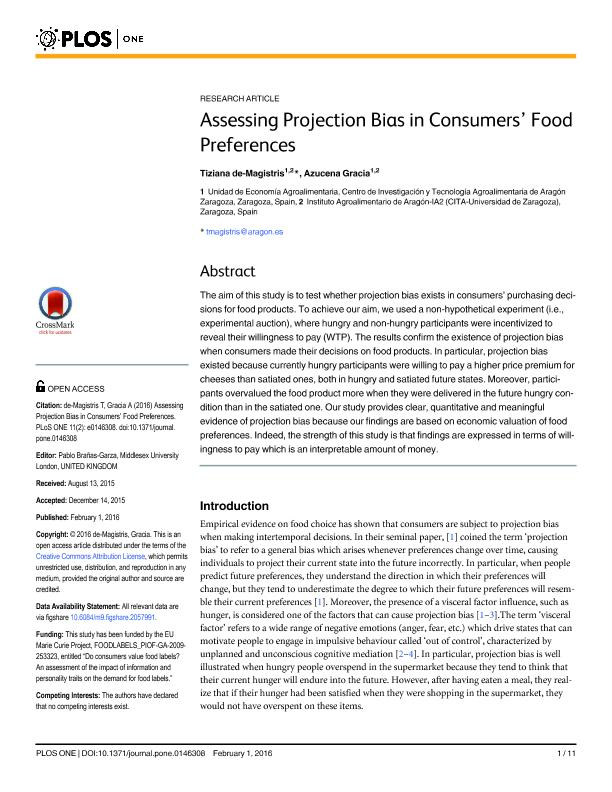 Assessing Projection Bias in Consumers Food Preferences