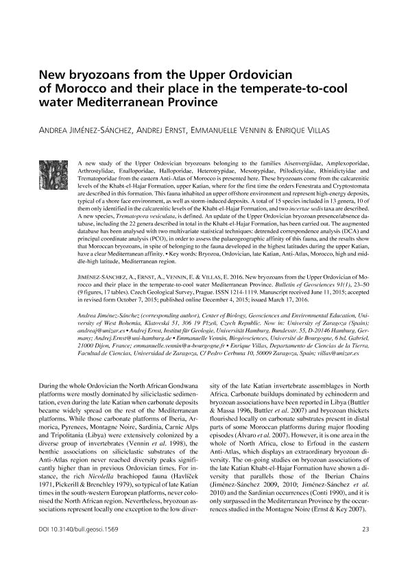 New bryozoans from the upper ordovician of morocco and their place in the temperate-to-cool water meditterranean province