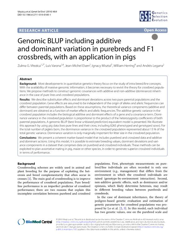 Genomic BLUP including additive and dominant variation in purebreds and F1 crossbreds, with an application in pigs
