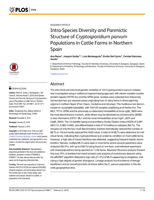 Intra-Species Diversity and Panmictic Structure of Cryptosporidium parvum Populations in Cattle Farms in Northern Spain
