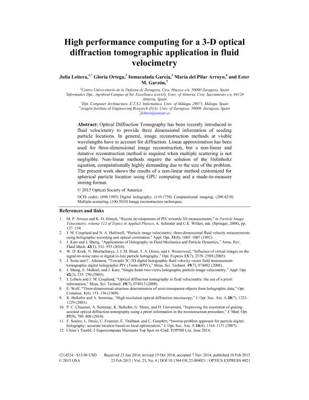 High performance computing for a 3-D optical diffraction tomographic application in fluid velocimetry
