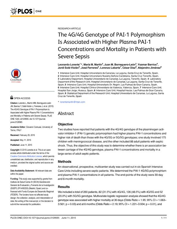 The 4G/4G genotype of PAI-1 polymorphism is associated with higher plasma PAI-1 concentrations and mortality in patients with severe sepsis