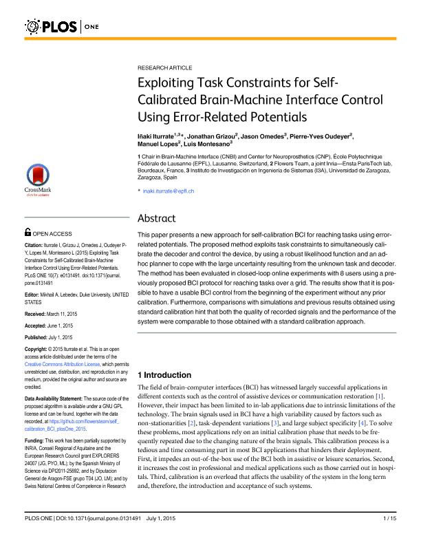 Exploiting task constraints for self-calibrated brain-machine interface control using error-related potentials