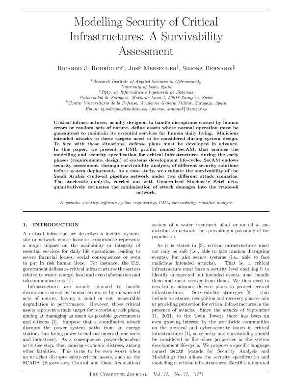 Modelling Security of Critical Infrastructures: A Survivability Assessment