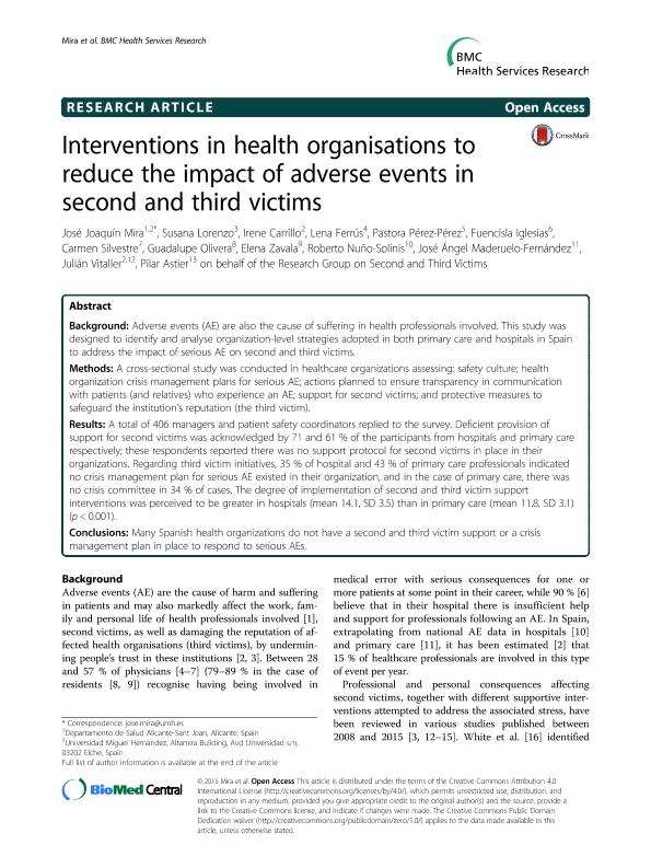 Interventions in health organisations to reduce the impact of adverse events in second and third victims