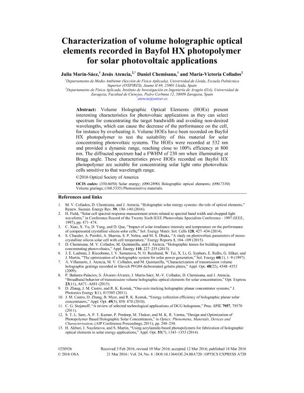 Characterization of volume holographic optical elements recorded in Bayfol HX photopolymer for solar photovoltaic applications