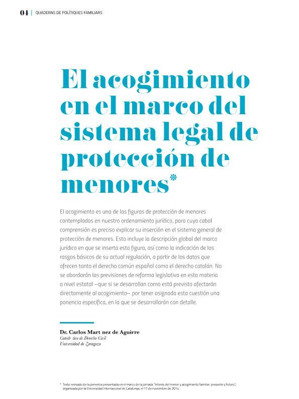 El acogimiento en el marco del sistema legal de protección de menores