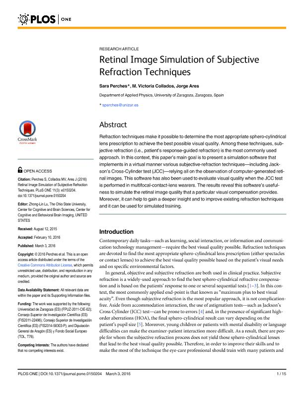 Retinal image simulation of subjective refraction techniques