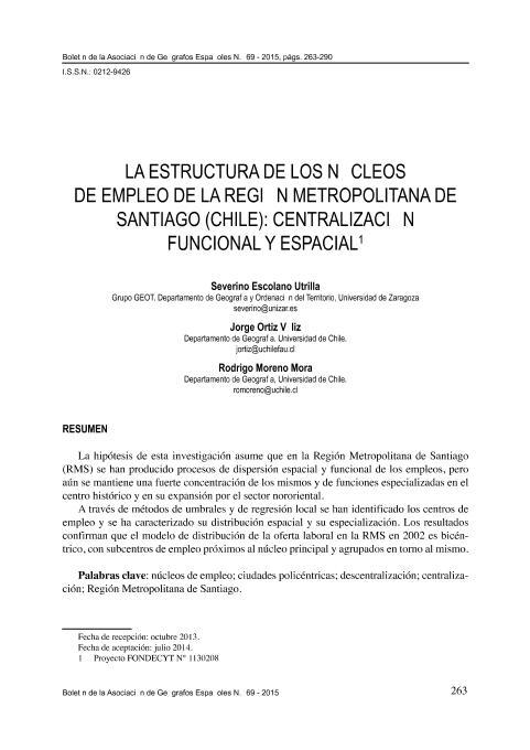 La estructura de los núcleos de empleo de la región metropolitana de Santiago (Chile) centralización funcional y espacial