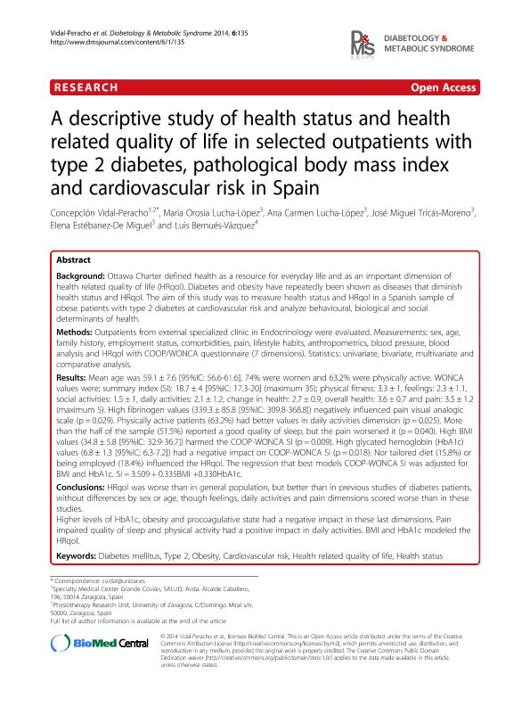 A descriptive study of health status and quality of life in selected outpatients with type 2 diabetes, pathological body mass index and cardiovascular risk in Spain.