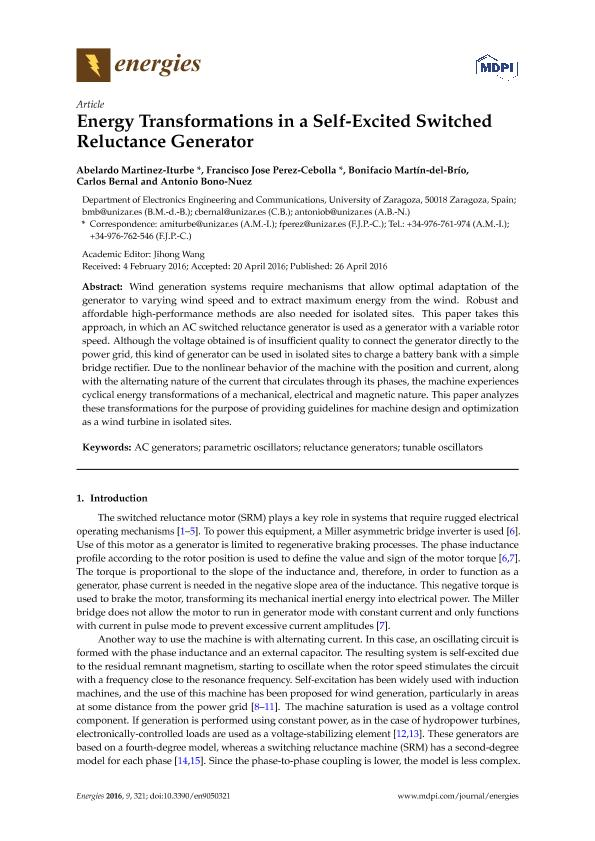 Energy Transformations in a Self-Excited Switched Reluctance Generator