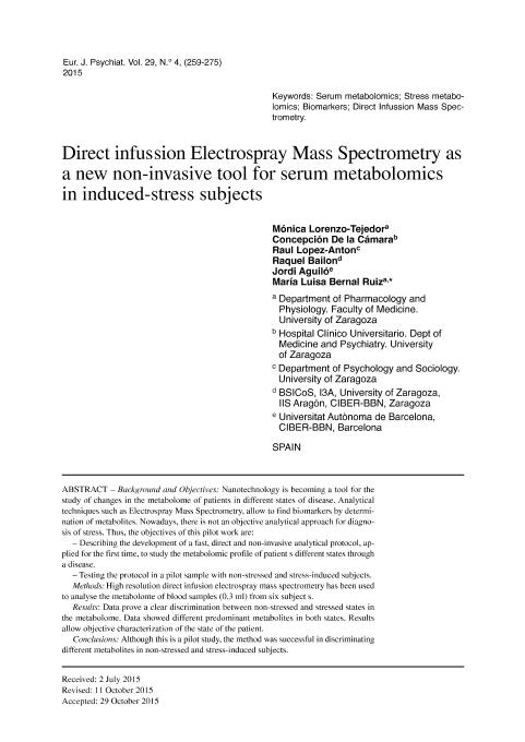 Direct infussion Electrospray Mass Spectrometry as a new non-invasive tool for serum metabolomics in induced-stress subjects