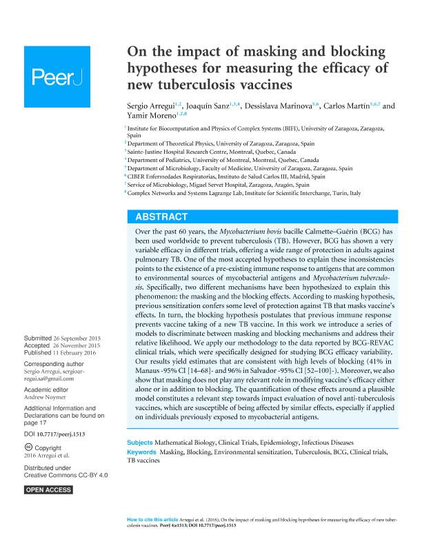 On the impact of masking and blocking hypotheses for measuring the efficacy of new tuberculosis vaccines