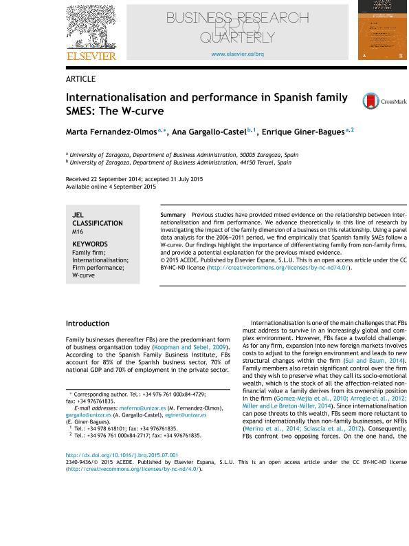 Internationalisation and performance in Spanish family SMES: The W-curve
