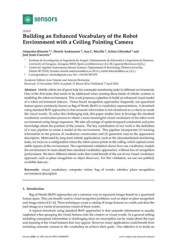 Building an enhanced vocabulary of the robot environment with a ceiling pointing camera