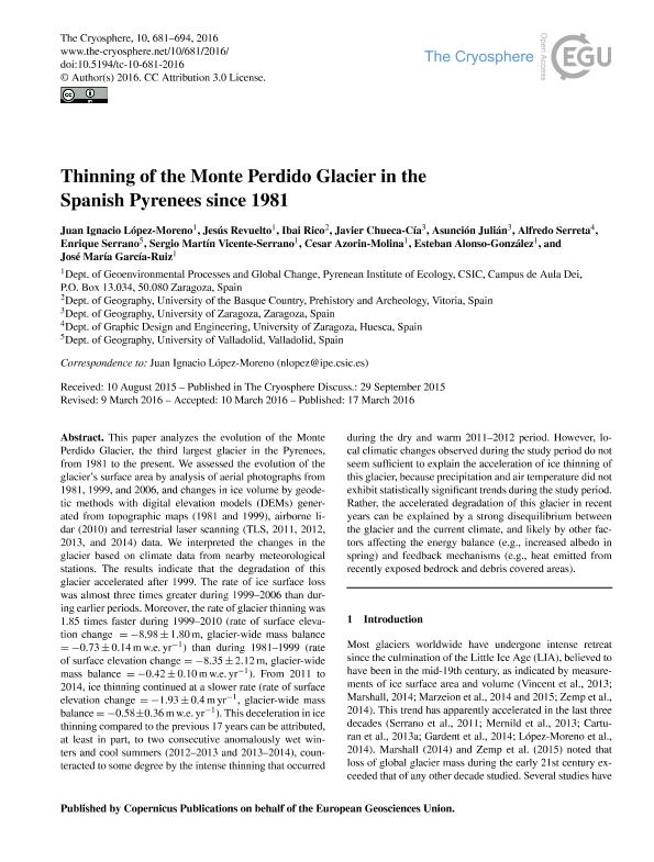 Thinning of the Monte Perdido Glacier in the Spanish Pyrenees since 1981