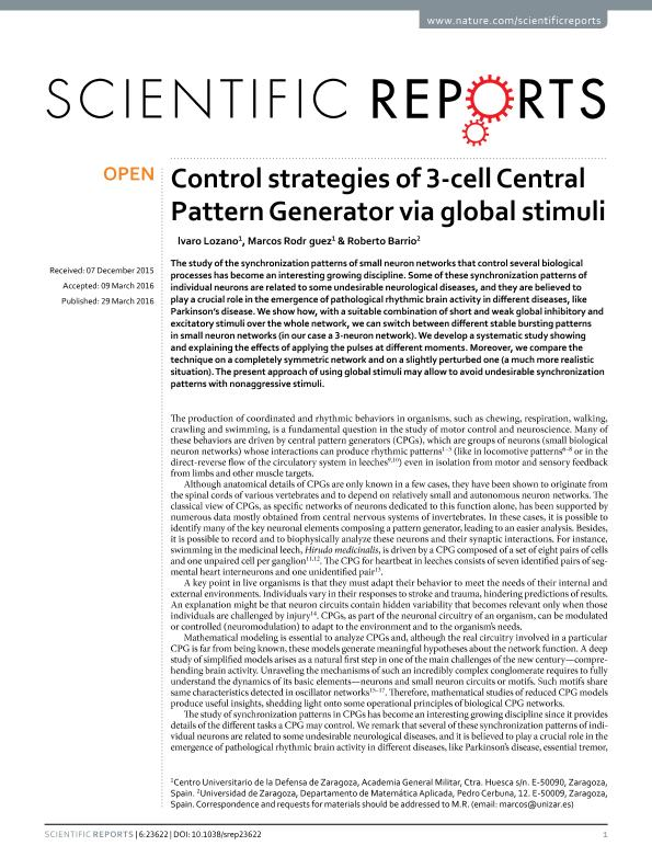 Control strategies of 3-cell Central Pattern Generator via global stimuli