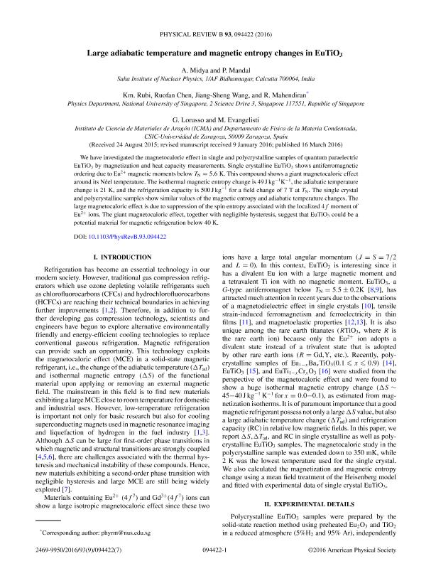Large adiabatic temperature and magnetic entropy changes in EuTi O3