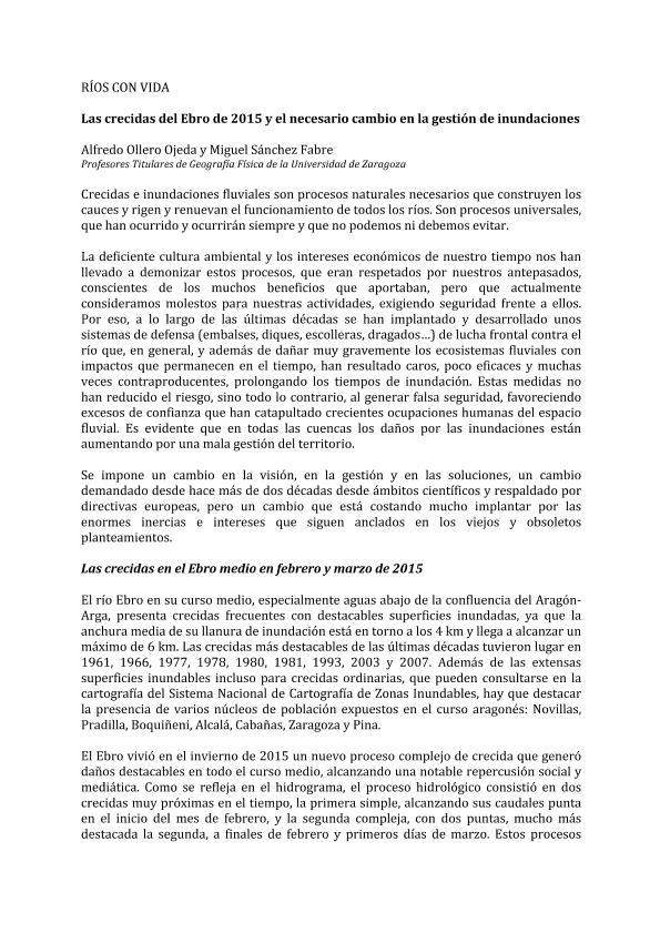 Las crecidas del Ebro de 2015 y el necesario cambio en la gestión de inundaciones.