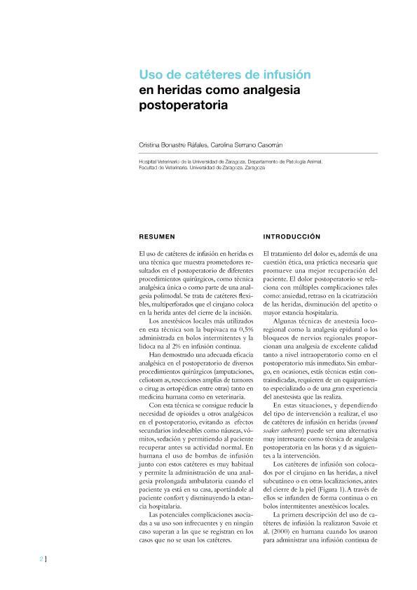 Uso de catéteres de infusión en heridas como analgesia postoperatoria