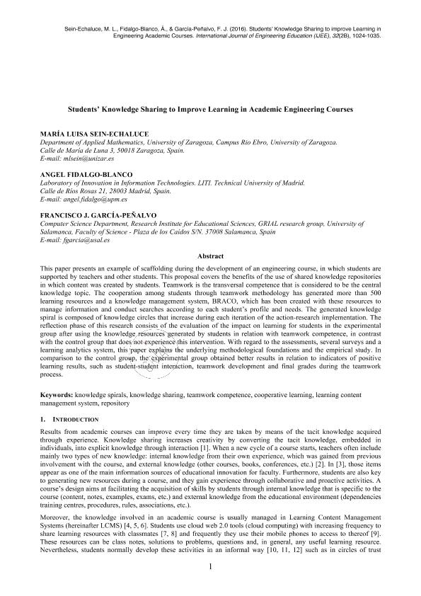 Students' knowledge sharing to improve learning in academic engineering courses