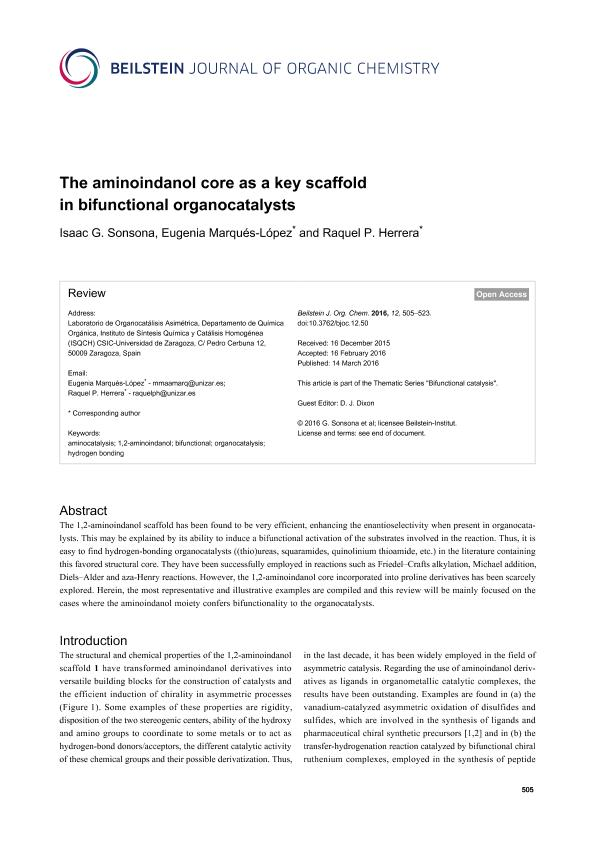 The aminoindanol core as a key scaffold in bifunctional organocatalysts