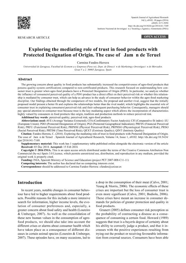 """Exploring the mediating role of trust in food products with protected designation of origin. The case of """"Jamón de Teruel"""""""