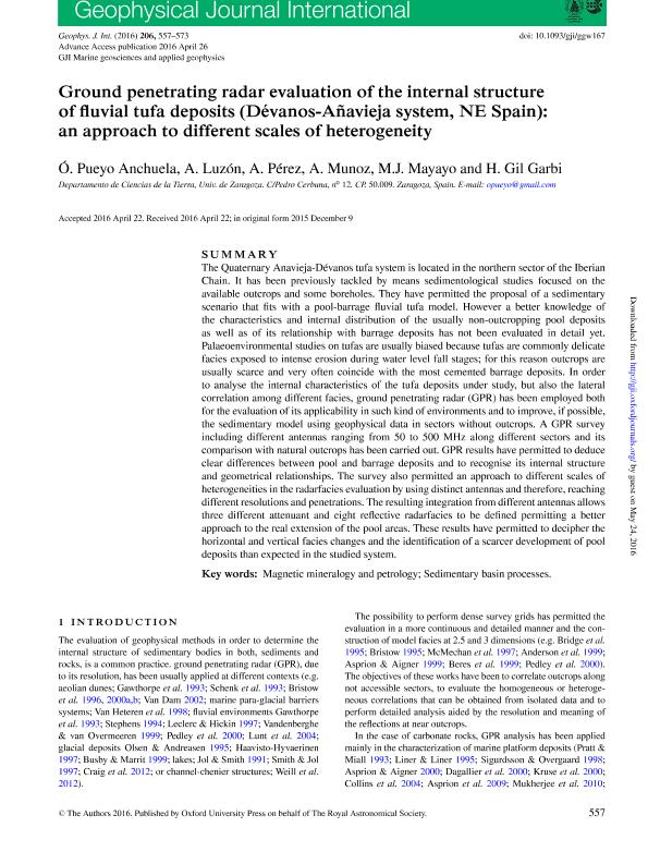 Ground penetrating radar evaluation of the internal structure of fluvial tufa deposits (Dévanos-Añavieja system, NE Spain): an approach to different scales of heterogeneity