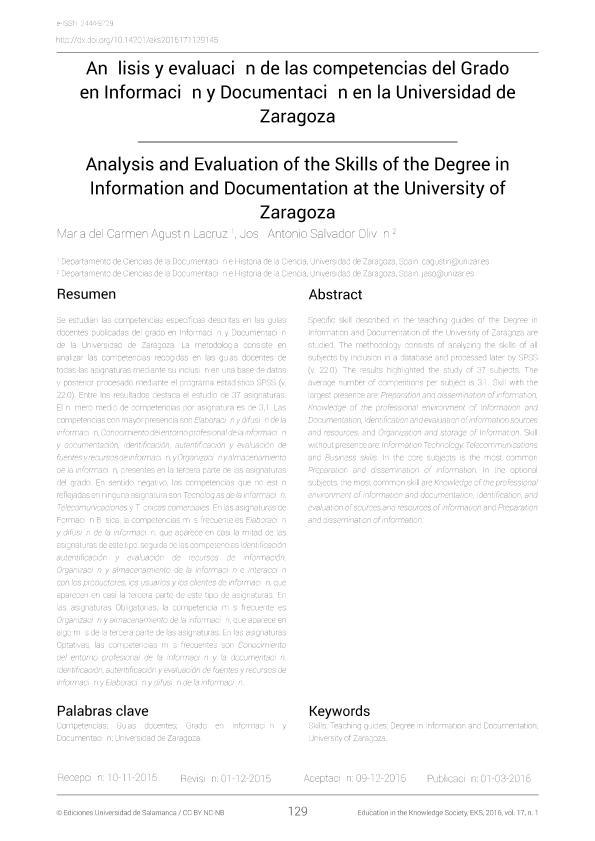 Análisis y evaluación de las competencias del Grado en Información y Documentación en la universidad de Zaragoza