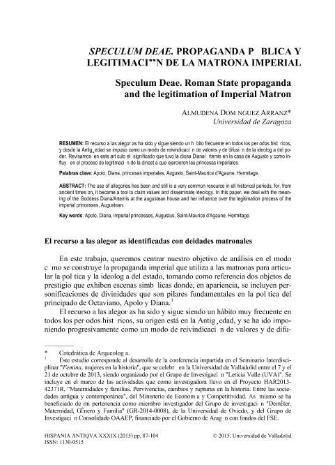 Speculum Deae. Propaganda pública y legitimación de la matrona imperial