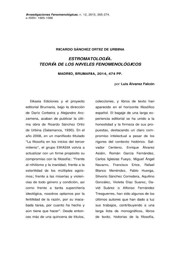 Estromatología. Teoría de los niveles fenomenológicos. Ricardo Sa´nchez Ortiz De Urbina (Madrid, Brumaria, 2014, 474 pp.)
