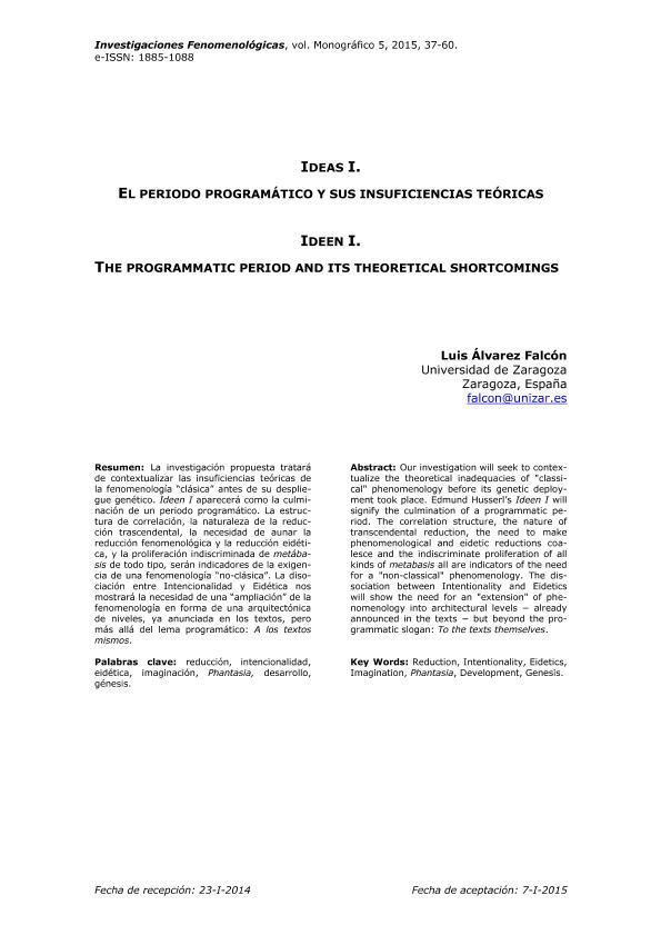 Ideas I. El periodo programático y sus insuficiencias teóricas