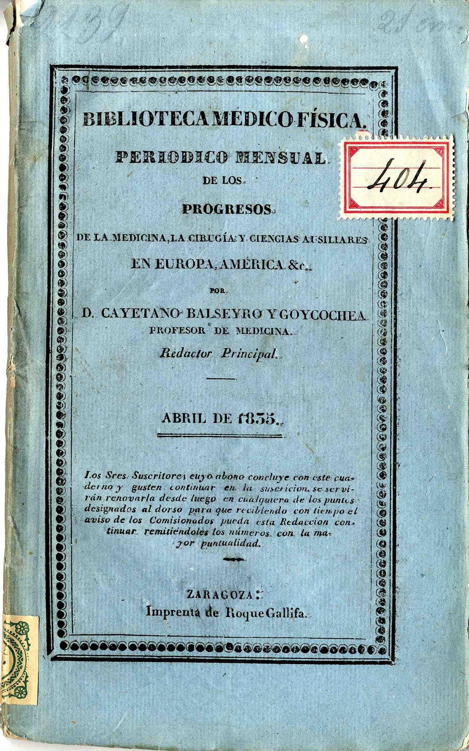 Biblioteca médico-física, abril,  (1835)